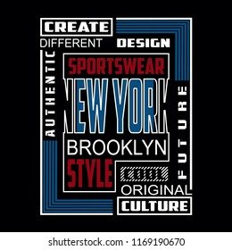 New york,brooklyn,sport typography vector illustration for t shirt