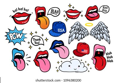 New youth stickers, patches in 70's 80's, 90's rock, pop art style. Perfectly suitable on a laptop, jeans jacket, other teenage adolescent clothes. Teen color vector set