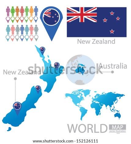 World Map New Zealand And Australia.New Zealand Australia Flag World Map Stock Vector Royalty Free