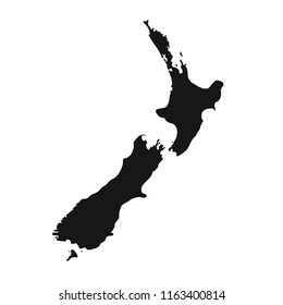 New zealand black isolated map backkground. Aotearoa kart