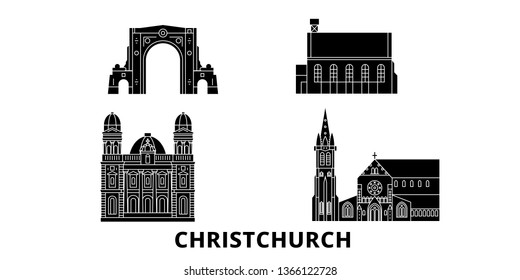 New Zealand, Christchurch flat travel skyline set. New Zealand, Christchurch black city vector illustration, symbol, travel sights, landmarks.
