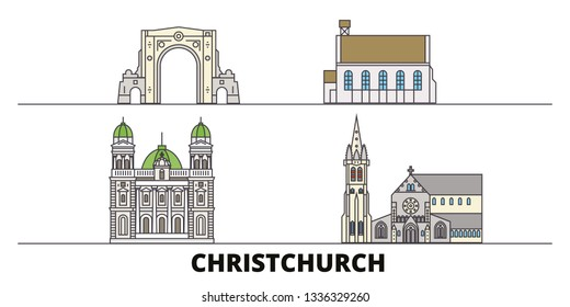 New Zealand, Christchurch line city with famous travel sights, skyline, design.