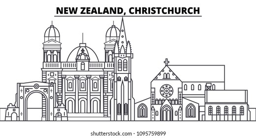 New Zealand, Christchurch line skyline vector illustration. New Zealand, Christchurch linear cityscape with famous landmarks, city sights, vector landscape.