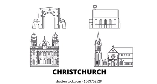 New Zealand, Christchurch line travel skyline set. New Zealand, Christchurch outline city vector illustration, symbol, travel sights, landmarks.