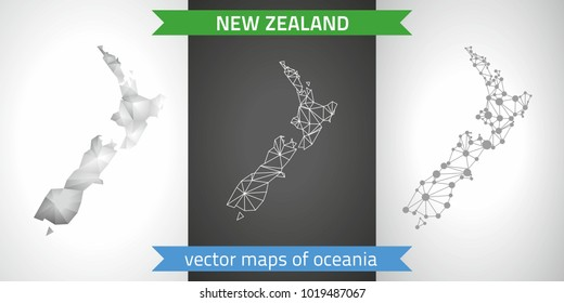 New Zealand collection of vector design modern maps, gray and black and silver dot contour mosaic 3d map