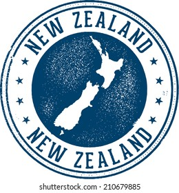 New Zealand Country Travel Stamp