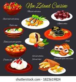 New Zealand cuisine meals, seafood dishes and sweet desserts vectors. Mussels with cheese, steak and Pavlova cake, fish with chips and potatoes, lamb with chutney, meat pie, baked in vegetables pork