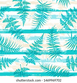 New Zealand fern frond overlapping stripes geometric botanical seamless pattern vector design. Tropical plant floral fabric print. Cool bracken grass, turquoise fern over horizontal stripes graphics.