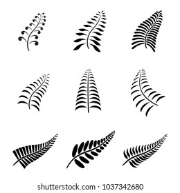 New Zealand Fern Leaf Icon Tattoo and Logo with Maori Style Koru Design