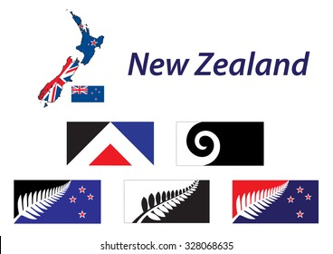 New Zealand five new proposal flags Map and Flags