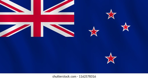 New Zealand flag with waving effect, official proportion.