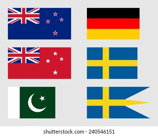 New Zealand, German, Pakistani and Swedish flags.