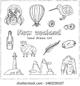 New Zealand hand drawn doodle set. Vector illustration. Isolated elements on white background. Symbol collection.