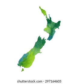 New Zealand. Hand drawn watercolor colorful map