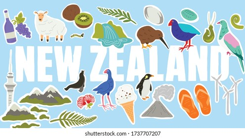 New Zealand icons and symbols. Hand drawn vector illustrations. Green natural new Zealand. Iconic landmarks and native birds.