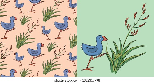"""New Zealand """"Kiwiana"""" design patten.  The pukeko is a widespread and easily recognisable bird.  The harakeke (flax plant) is an evergreen perennial plant native to New Zealand and Norfolk Island."""