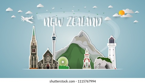 new zealand Landmark Global Travel And Journey paper background. Vector Design Template.used for your advertisement, book, banner, template, travel business or presentation.