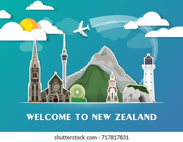 New Zealand Landmark Global Travel And Journey paper background. Vector Design Template.used for your advertisement, book, banner, template, travel business or presentation