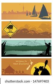 New Zealand landscapes, vector