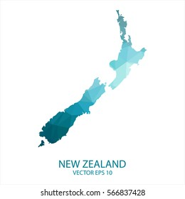 New Zealand map - blue geometric rumpled triangular low poly style gradient graphic background , polygonal design for your . Vector illustration eps 10.
