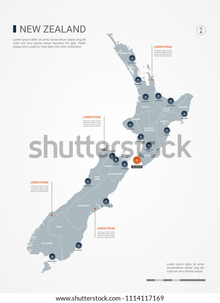 New Zealand Map Borders Cities Capital Stock Vector (Royalty ...