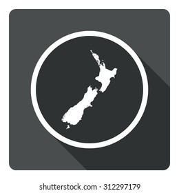 New Zealand map dark sign icon. Country map geography symbol. Gray flat New Zealand button with long shadow. Vector icon map of New Zealand on dark background. Modern UI website navigation