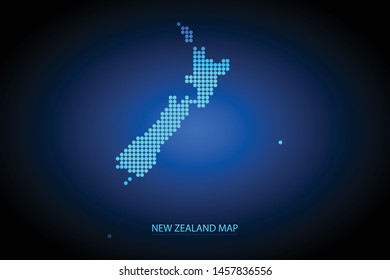 New Zealand map dotted style. Vector illustration isolated. Map of Oceania. Symbol for your web site design map logo, app, ui, Travel vector eps10, concept Illustration.