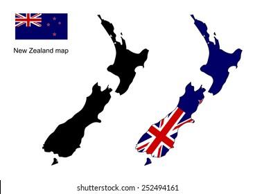 New Zealand map, New Zealand flag vector