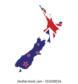 New Zealand Map with Flag Vector
