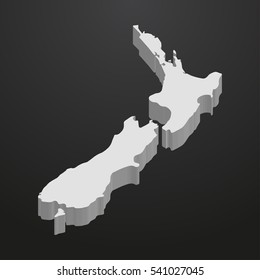 New Zealand map in gray on a black background 3d