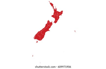 New Zealand map red color