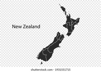 New Zealand map vector, black color. isolated on transparent background