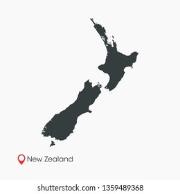 New Zealand Map Vector Template Isolated