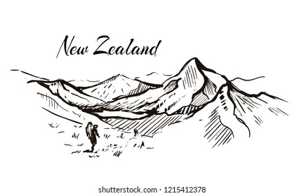 New Zealand mountain valley hand drawn sketch illustration.Isolated on white background,