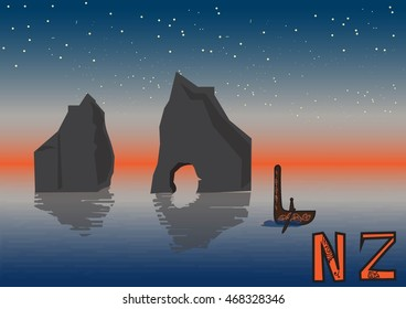 New Zealand night landscape, vector illustration, islands maori ethnic canoe. Wharariki Beach postcard. Travel poster