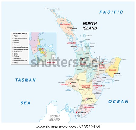 New Zealand North Island Administrative Political Stock Vector ...