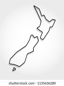 New Zealand, outline map, shadow concept