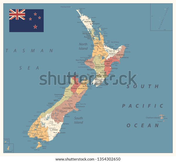 New Zealand Political Map Vintage Color Stock Vector ...