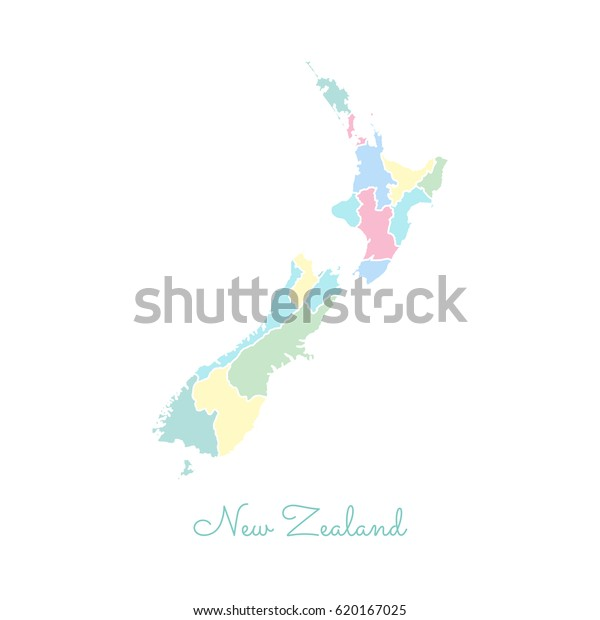 Map New Zealand Regions.New Zealand Region Map Colorful White Stock Vector Royalty Free