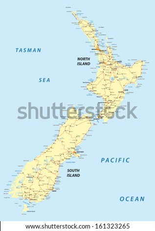 Detailed Map Of New Zealand North Island.New Zealand Road Map Stock Vector Royalty Free 161323265