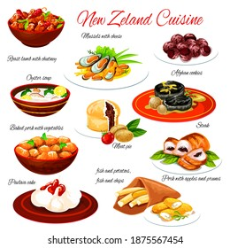 New Zealand seafood and meat food with vegetables. Vector lamb chutney, fish and chips, meat pie and pavlova cake, beef steak, pork stew and baked mussels with cheese, oyster soup and chocolate cookie