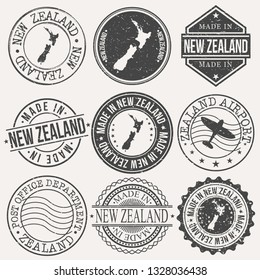 New Zealand Set of Stamps. Travel Stamp. Made In Product. Design Seals Old Style Insignia.