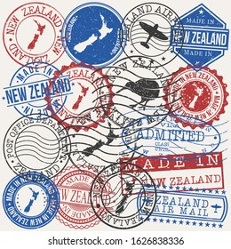 New Zealand Set of Stamps. Travel Passport Stamp. Made In Product. Design Seals Old Style Insignia. Icon Clip Art Vector.