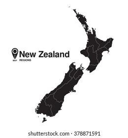 New Zealand silhouette regions map