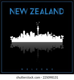 New Zealand skyline silhouette vector design on parliament blue and black background.