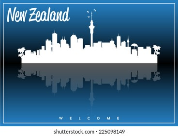 New Zealand, skyline silhouette vector design on parliament blue and black background.