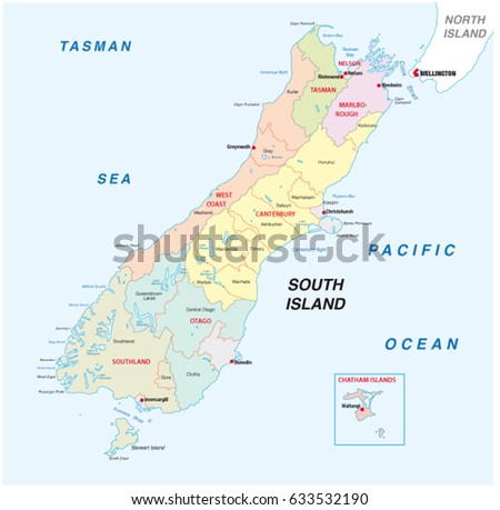 Political Map Of New Zealand.New Zealand South Island Administrative Political Stock Vector