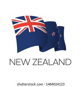 New Zealand vector flag. NZ flag waving. Oakland