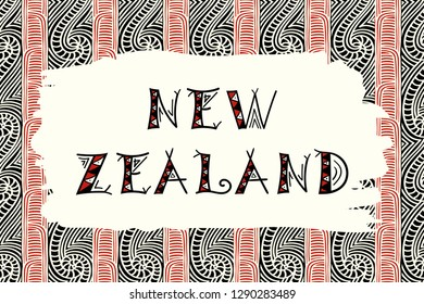 New Zealand. Vector illustration. Travel design with maori pattern ornaments. Tribal concept.