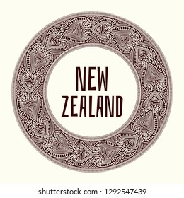 New Zealand. Vector illustration. Travel design with maori tattoo pattern ornaments. Tribal concept for tourist banner, postcard, gift card, t-shirt or flyer template.
